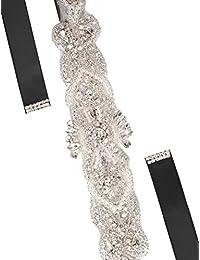 sourcingmap Décor strass femmes mariage ruban satin noir ceinture e10b2e0601a