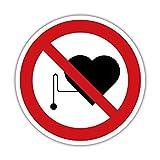 Keine Herzschrittmacher Aufkleber 5cm Schild Verbotsschild Design2 (1)