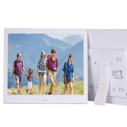 13-Zoll-digitaler Bilderrahmen 1280 * 800 HD 16: 9 IPS-LCD-Anzeigen-elektronischer Bilderrahmen mit MP3-, Werbeanzeige, Digitaluhr, Kalender, USB- und SD-Kartensteckplätzen und Fernbedienung,White