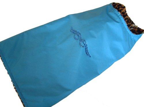 Bild: UNIKAT Sojoco Hunde Regen Wendemantel Größe S blau mit Swarovski Elements Kristallen Innenseite LeoFellimitat Brustumfang ca 42 cm Länge ca 34 cm