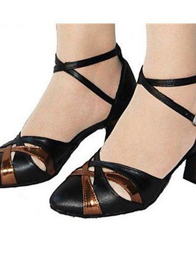 ShangYi Chaussures de danse (Noir) - Non personnalisable - Gros talon - Satin - Moderne Black