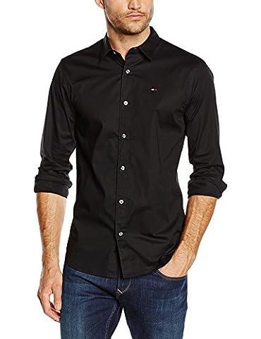 Hilfiger Denim Herren Slim Fit Freizeit Hemd Original stretch shirt l/s, Schwarz (TOMMY BLACK 078), Gr. Large