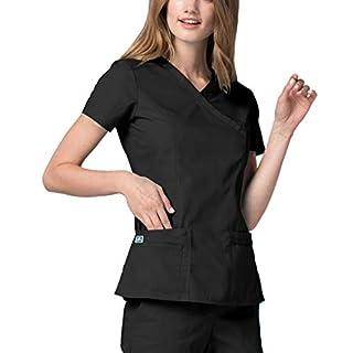 Universal Women's Double Stitched Large Pocket Mock Wrap Scrub Top, Color: BLK | Size: S