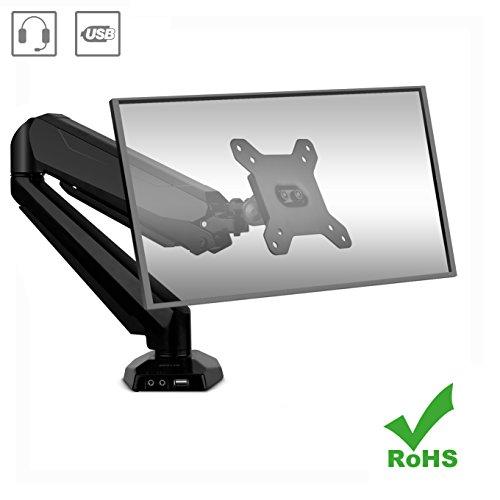 """BESTEK Gasfeder Monitor Halterung Tischhalterung für 15\"""" - 27\"""" Zoll LED und LCD Monitore, 180° neigbar 360° schwenkbar mit Drehung, VESA 75x75,100x100,Max. Tragkraft 8kg, Aluminium"""