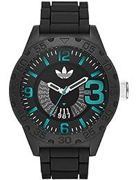 Adidas Herren-Quarzuhr mit schwarzem Zifferblatt Analog-Anzeige und schwarz Silikon Armband adh3111
