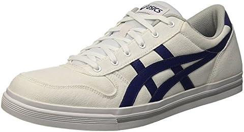 Asics Aaron, Sneakers basses mixte adulte, Blanc (White/Bleue Print), 37.5 EU