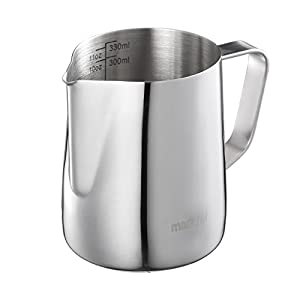 Mari Chef - Stainless Steel Milk Pitcher Frothing Jug Measuring Cup with Internal Markings