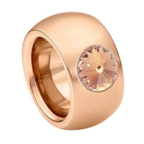 Heideman Ring Damen Coma 14 aus Edelstahl Rosegold farbend matt Damenring für Frauen mit Swarovski Stein Kristall Light Peach im Fantasie Edelsteinschliff 10mm