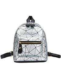 dcafec6008af Women Small Backpack Splice Daypack Rucksack School Bag Travel Shoulder  Bookbag Satchel Faux Leather Casual With Zipper For Girls Ladies…