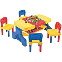 Liberty House Toys Children's Picnic Table with Building Block Top and Chairs Set