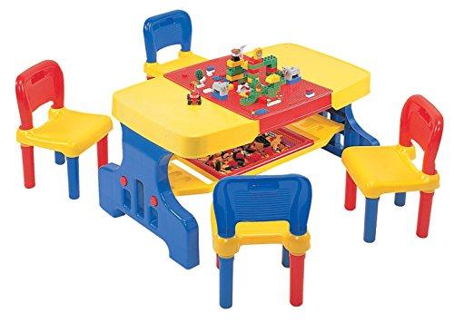 LibertyHouseToys A888 Riesen-Picknick-Tisch mit Lego Top und 2 Stühlen, Plastik, Multi, 57 x 97.5 x 50.5 cm
