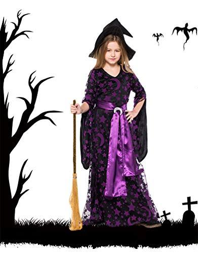 GJ688 Halloween Party Kinder Lila Hexe Kostüm Cosplay Bühne Frauen Lila Star Moon Print Kleid für Mädchen,S (Black Star Cosplay Kostüm)