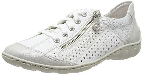 Rieker Damen M37G6-80 Sneaker, Weiß (White-Silver/Weiss/Weiss-Silber/Silver 80), 37 EU
