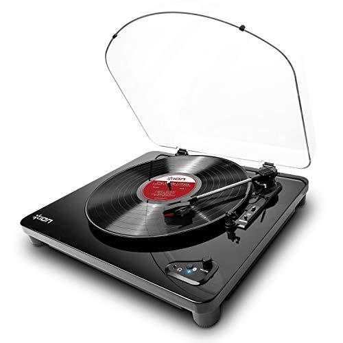 ION Audio Air LP Giradischi Bluetooth Tre Velocità con Software di Conversione USB e Finitura Nero Lucido