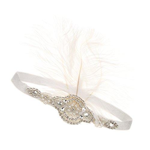 Cosplay Haar Accessoires Strass Stirnband Feder Kopfstück Glitzer Tiara mit elastischem Band, geeignet für alle Damen (Feder Tiara)