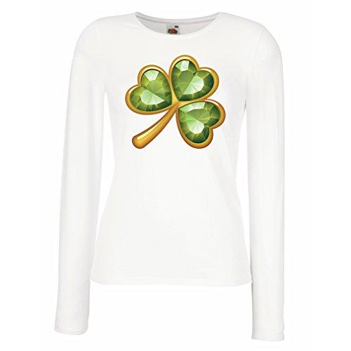 Weibliche langen Ärmeln T-Shirt Irish shamrock St Patricks day clothing (Large Weiß (Crochet Collection Kostüme)