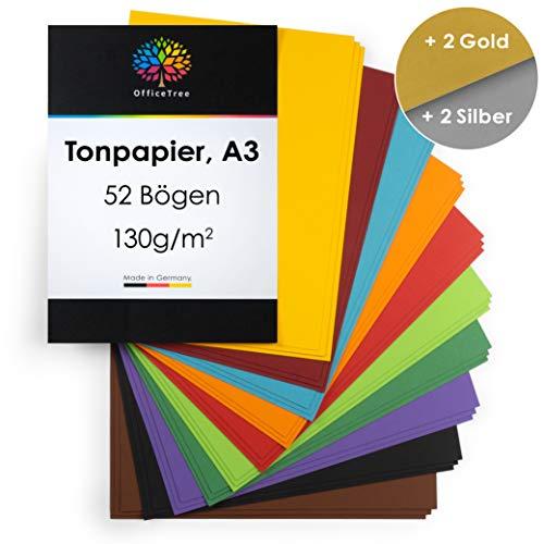 OfficeTree Tonpapier A3 Bunt - 10 Farben + 1 Gold- und 1 Silberbogen - Buntes Bastelpapier 52 Blatt 130g/m² - Tonkarton zum Basteln und Gestalten