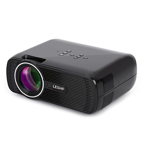 Mini Proiettore LESHP LED Proiettore Video Multimedia Home Theater con Supporto1080p HDMI / VGA / USB / AV / TV Home Cinema Portatile (1300 lumen, Nero)
