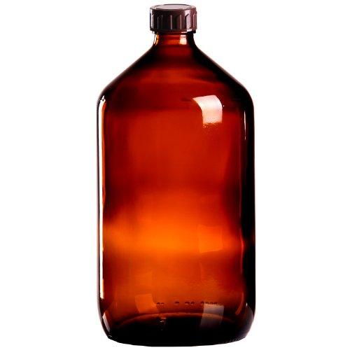 5 x Braunglasflasche 1000ml / Medizinflasche inkl. Standard-Schraubverschluss braun DIN 28 -