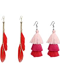 Nawab Boho Gypsy Feather Tassel And Eanmel Earring For Girls And Women (pack Of 2 Pair)- RED AND PINK