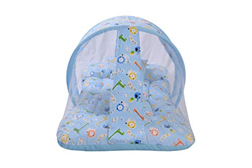 Toddylon® New Born Baby Bedding Set with Foldable Mattress, Mosquito Net and Pillow - Blue 0-6 Months