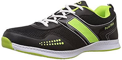 Pure Play Men's Airborne Black and Green Running Shoes - 7 UK
