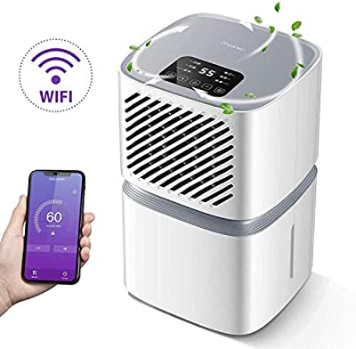 iTvanila Dehumidifier, 12L/DayAirDehumidifierforHomewithWi-Fi Control,LEDDisplaywithAuto Off Sensor, Laundry Drying,Continuous Drainage with Hose, 2YearWarranty