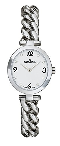 Grovana Women's Quartz Watch with White Dial Analogue Display and Silver Stainless Steel Bracelet 4571.1133