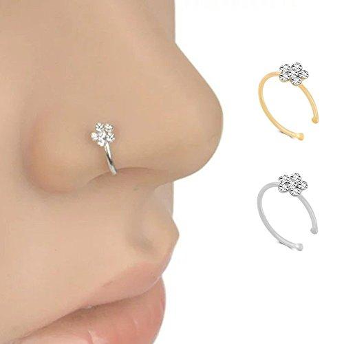 Repino - anello per piercing al naso in acciaio chirurgico, con fiore in strass, da donna silver