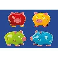 Sparschwein, gepunktet, Porzellan, Farben rot, grün,gelb,blau, H. ca.9 cm,1812-17406 preisvergleich bei kinderzimmerdekopreise.eu