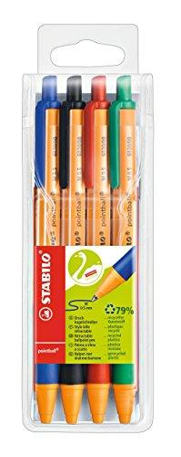 Bolígrafo retráctil STABILO pointball - Estuche con 4 colores