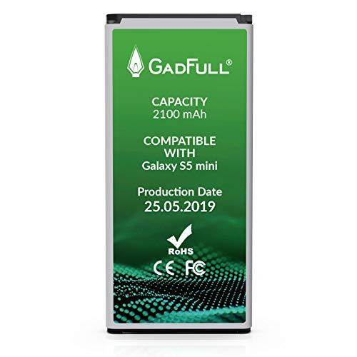 GadFull Akku für Samsung Galaxy S5 Mini | 2019 Baujahr | Entspricht Dem Original EB-BG800BBE | Lithium-Ionen-Akku der Modelle SM-G800F | Duos SM-G800H | Ersatz Handy-Akku für Ihr Smartphone