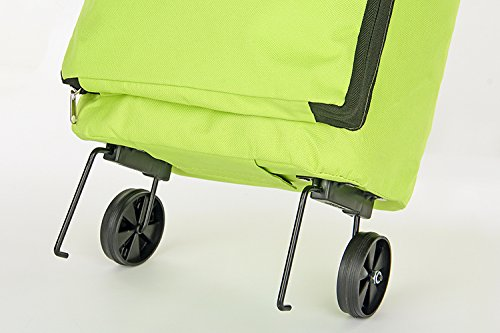 Zanasta Carrello Spesa Shopping Trolley (pieghevole) Borsa Bagagli Portaspesa/Acquisto con cerniera, Verde