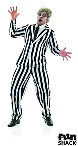 Halloween man Fancy Dress Mens Black And White Suit - Three Sizes