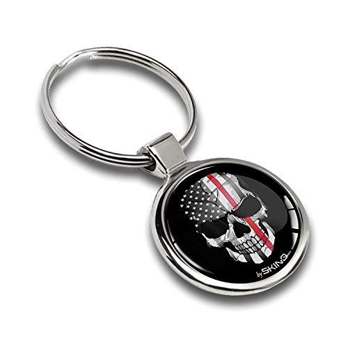 Schlüsselanhänger Metall Keyring Autoschlüssel Geschenk Metall-Schlüsselanhänger Schlüsselbund Edelstahl Schädel Skull Emblem USA Flagge Thin Red Line, KK 163