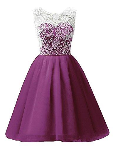MicBridal® Sonderangebot 40% Rabatt Kurz Tüll Spitze Ballkleid Blumenmädchenkleid für Damen und Mädchen Purper