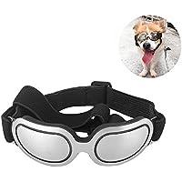 Petacc Gafas de Sol para Perros Protección UV Contra el Desgaste del Ojo Gafas para Mascotas a Prueba de Viento para Perros Medianos y Pequeños, Diseño Ajustable, Plata