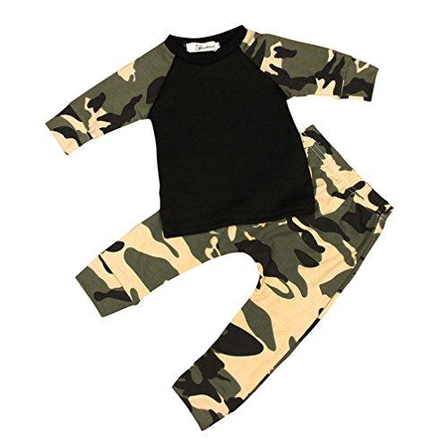 Bekleidung Longra Baby jungen Neugeborenen jungen Camouflage T-shirt Tops + lange Hosen Outfit Kleiderset Bekleidungset (0-24 Monate) (70CM 6Monate)