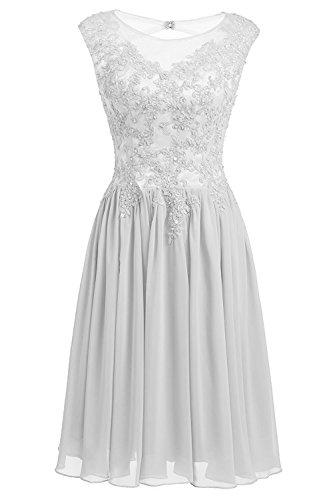 Carnivalprom Damen Chiffon Abendkleider Kurz Elegant Brautjungfern Kleider HochzeitsKleid Cocktailkleider Weiß