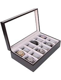 Caja Organizadora de Relojes de Madera Maciza Color Café Oscuro con Tope de Vidrio Exhibidor Hecho