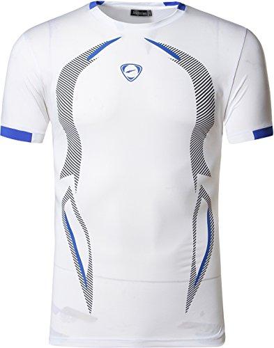 jeansian Uomo Asciugatura Rapida Sportivo Casuale Slim Sports Fashion T-Shirts Maglia Vest LSL187 White M