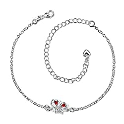 Yellow Chimes Red Butterfly Crystal Anklet for Girls and Women