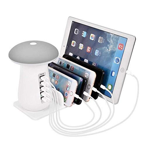 SHKY Schnellladestation - QC 3.0 Quick Charge Desktop Station - Wiederaufladbare Tischlampe, für Samsung, Apple, iPhone, iPad, Smartphone, Tablet,Gray (Mobile Ladeschale)