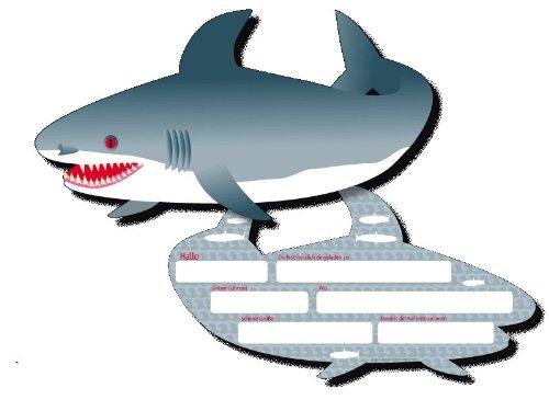 6 Einladungskarten * HAI * für Kindergeburtstag und Party von DH-Konzept // MEEREKARTE018 // Kinder Geburtstag Party Einladung Einladungen Karte Glitzer Haifisch Shark Meerestiere Fisch