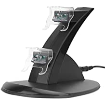 MoKo Xbox One Base de Carga - Doble Gaming Controlador Imitacióncon Luz LED Arc Charging Dock Stand Muelle para Xbox One, Negro