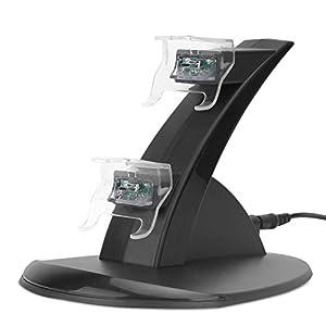 Xbox One Ladestation, MoKo Ladegerät Ständer Charging Docking Station Dock Stand mit LED Anzeige für Xbox One Controllers, Schwarz