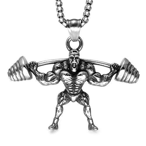 DADATU Halsketten für Herren Muskel Mann Anhänger Halskette Edelstahl Gewicht Heben Fitness Sport Halskette Figur Charme Männer Bodybuilding Gym - Machen Sie Muskel Mann Kostüm