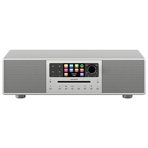 sonoro Meisterstück 2.1 Kompaktanlage (FM/DAB/DAB+/WLAN, CD, AUX-in, aptX Bluetooth, Multiroom, Spotify Connect) Silber - Digital Internet-Radio