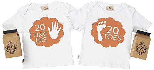SR - estuche de presentación - 20 Fingers & Toes camiseta gemelos bebé - ropa para gemelos bebé - regalo para gemelos bebé, Blanco, 5-6 años