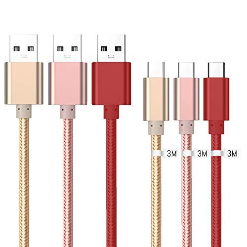 Cavo USB C, Trasferimento Dati e Ricarica Rapida, Intrecciato Trecciato Antigroviglio Nylon, Cavi USB Type C [3 Pezzi 3M] per Xiaomi Redmi Note 7 [3.1 Amp] USB Typ C Cavo - Oro, Oro Rosa, Rosso